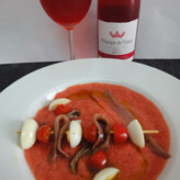 Príncipe de Viana Rosado Garnacha 2013 con Sopa de Tomate y Fresas con Brochetas de Anxoves de l'Escala