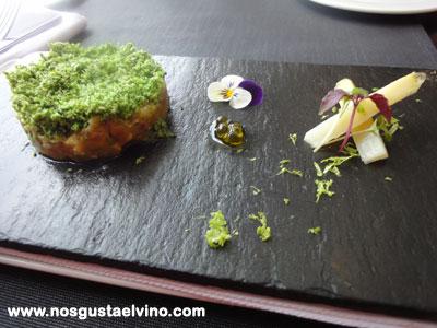 Restaurant Hydrogen Hotel Barcelo Sants Tartar de verduras, espárragos blancos, brócoli y vinagreta de limón