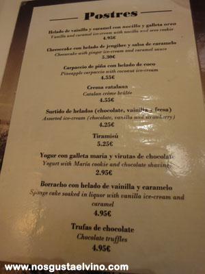 Restaurant cullera de boix boqueria carta postres