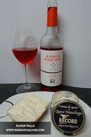 ramon roqueta rosado 2016 con crema de queso manchego de quesos record
